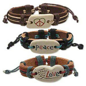Leather Bracelets Peace Love Adjustable Wristband Boho Surfer 3 Piece Set