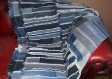 Very Large Multi Stripe Patchwork Denim Blanket, Handmade Denim Throw, Floor Rug