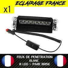 GYROPHARE FEUX DE PENETRATION 8 LED BLANC PARE BRISE - ALLUME CIGARE 12V