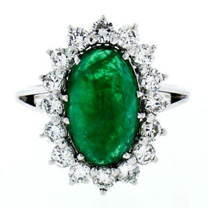 French 18K Gold Platinum 6.21ctw GIA Cabochon Emerald Diamond Halo Cocktail Ring