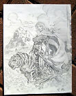 Tim Vigil Original Art C051  Girl and Tiger Faust