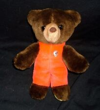"9"" Vintage 1982 Gund Baby Brown Teddy Bear Stuffed Animal Plush Toy Red Outfit"