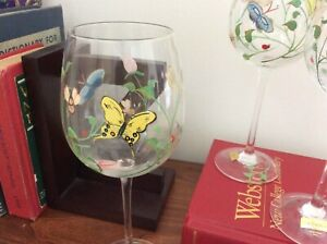 """Lot of 4 Lenox Butterfly Meadow Hand painted  WINE GLASSES Goblets 9 1/4"""" Spring"""