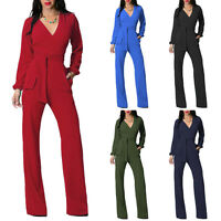 Women Sexy V-Neck Bodycon Long Sleeve Palazzo Pants Romper Playsuits Jumpsuit