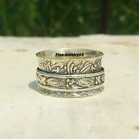 925 Sterling Silver Spinner Ring Wide Band Meditation Statement Jewelry A102