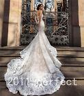 Lace Mermaid White/Ivory Wedding Dress Bridal Gown Custom Size 6-8-10-12-14-16 +