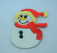 CHRISTMAS XMAS SNOWMAN Embroidered Iron Sew On Cloth Patch Badge  APPLIQUE REDSC