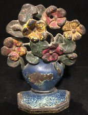 New listing Antique Cast Iron Flower Basket Planter Pot Doorstop Pansies *b148