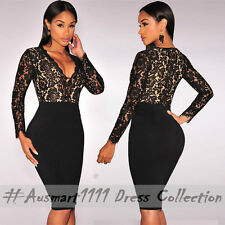 Floral Lace Long Sleeve V Neck Curve Hugging Bodycon Casual Dress Office Wear