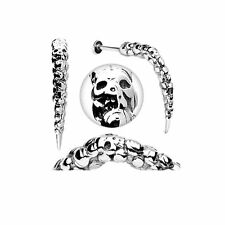 Labret Lip Stud Artistic SKULL CARVED 14g 3/8 Long Spike 40mm long