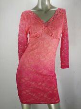 Boston Proper Lace Dress Empire Waist Pink Ombre 3/4 Seelve Scoop Neck Sz S