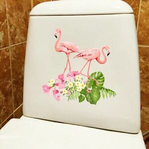 Classic Flamingo And Tropical Plant Designed Sticker Home Wall Toilet Decoration