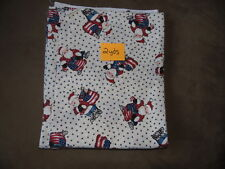 2 YDs Quilt Sewing Fabric White Background SANTA CLAUS w Flag Bag Stars Xmas