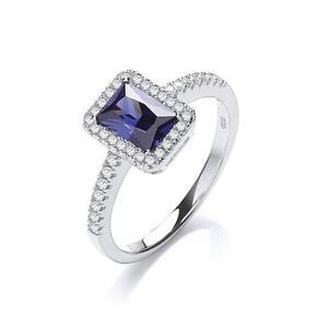 Silver J-Jaz Micro Pave' Emerald Cut Blue Cubic Zirconia Statement Ring O,CZ