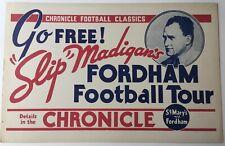 1930's Slip Madigan's Fordham Football Tour San Francisco Chronicle AD Piece