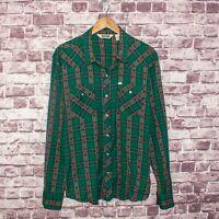Salt Valley Men's Western Metal Buttons Shirt Green Plaid Cotton Size XL