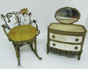 Vintage Folk Art Tin Can Tramp Art, Doll Furniture, Rocking Chair & Vanity