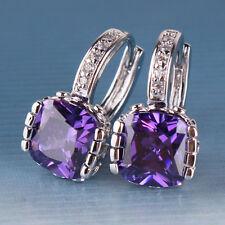 topaz women party band hoop earring Popular 18K white gold filled purple