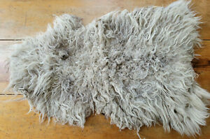 Vintage Sheepskin Rug Used Wool Pelt 26x35 genuine lamb Long Hair