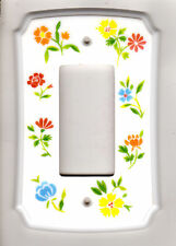 AmerTac Classic Single Rocker Switch Plate Cover Flowers Composite Wallplate