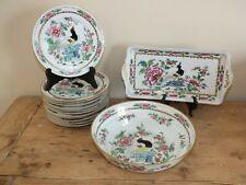 Service à dessert 14 pièces en porcelaine - Samson décor Oiseaux Famille Rose