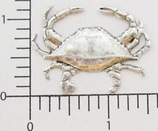 48144 - 2 Pc Large Dungeness Crab Jewelry Finding Stamping Matte Silver Oxidized