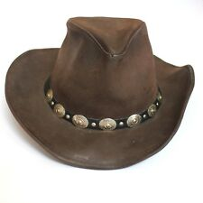 USA MADE XL Henschel Hat Cowhide Brown Leather Western Cowboy Hat w Silver  Metal 19581d0db78c
