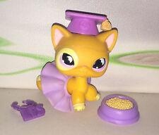 Authentic Littlest Petshop #855 Shorthair European Cat yellow Moon Chat + Access