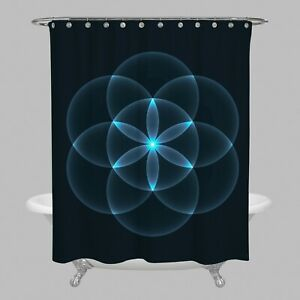 Flower of life Curtain sacred geometry shower curtains black shower curtain blue