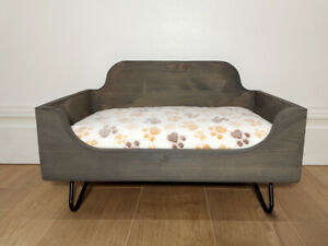 Wooden Dog Bed With Mattress. Raised bed for dogs with memory foam particles mat