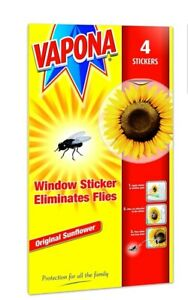 VAPONA FLY KILLER WINDOW SUNFLOWER STICKERS ELIMINATES FLIES - PACK OF 4