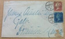 GB COVER 1871 HAWICK TO CANADA.SCARCE PLATE12 TWOPENNY 1414