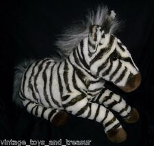 "14"" BIG VINTAGE R DAKIN APPLAUSE BLACK WHITE ZEBRA STUFFED ANIMAL PLUSH TOY PONY"