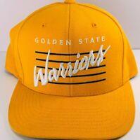 Golden State Warriors Mitchell & Ness Snapback Hat Yellow w/ Retro Script Logo