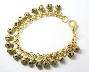 "Belly Dance Charm Chime Bracelet Dancers Clapper less Bells Gold Brass Tone 6"""