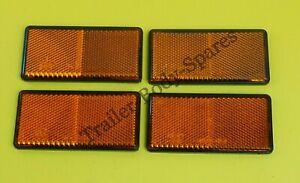 4 x Amber Side Reflectors 100mm x 50mm Self Adhesive - Trailer / Horsebox Side