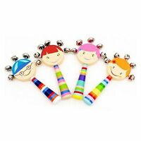1pc Baby Kids Rainbow Wooden Handle Bell Jingle Stick Shaker Rattle Toys O5H2