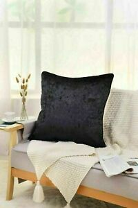 New Plain Luxury Crushed Velvet Cushion Cover With Piped Edges 45 x 45 cm Black