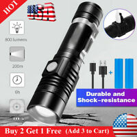 Super Bright 20000LM T6 LED Flashlight Rechargeable Zoom Torch 18650 4 Modes US