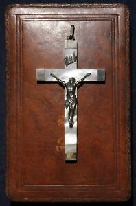 France Antique Sterling Silver Mother Pearl Pectoral Cross Pendant Crucifix Box