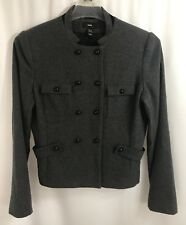 H&M Womens Wool Blend Military Jacket Gray Buttons Pockets Size 12