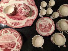 "Konvolut 40 Teile Kaffeeservice Englische Keramik rot ""Johnson Bros"""