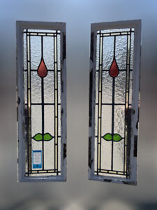 Pair Of Reclaimed Leaded Light Stained Glass Within Crittall Window Frame