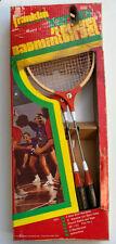 Vintage FRANKLIN Varsity 4-Player Badminton Set 3221 Steel Racquets Poles Sports