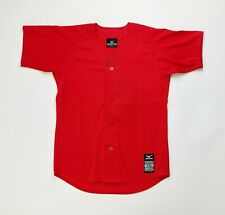 Mizuno Baseball Full Button Game Jersey Red Short Sleeve Youth Boy's L XL 350521