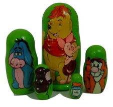 5pcs Hand Painted Russian Nesting Doll of Winnie the Pooh Large (7.25 inches)