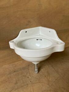 Small Antique 17x14 Ceramic White Porcelain Corner Sink Old Vtg Bathroom 18-21E