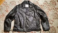 EXCELLED NY BLACK LEATHER CLASSIC SIDE LACE BIKER MOTORCYCLE JACKET MEN'S 44 REG