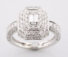 18K White Gold 1.17 carat Emerald Cut Diamond Engagement Ring w/ Accents Size 6