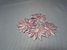 2x Satin White/Pink with White Big Appliqu- Daisy Motif,Trimmings,Wedding, 4.3cm